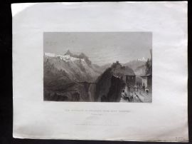 Bartlett Switzerland C1838 Antique Print. Approach to Briancon, Hautes Alpes